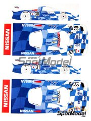 Renaissance Models: Marking / livery 1/24 scale - Nissan R390 GT1 Clarion #30, 31, 32 - John Nielsen (DK) + Franck Lagorce (FR) + Michael Krumm (DE), Erik Comas (FR) + Jan Lammers (NL) + Andrea Montermini (IT), Kazuyoshi Hoshino (JP) + Aguri Suzuki (JP) + Masahiko Kageyama (JP) - 24 Hours Le Mans 1998 - water slide decals and assembly instructions - for Tamiya kit TAM24192
