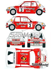 Renaissance Models: Decals 1/24 scale - Peugeot 205 Turbo 16 Belga #3 - Bernard Darniche (FR) + Alain Mahé (FR) - Ypres Rally 1985 - for Tamiya references TAM24054 and 24054