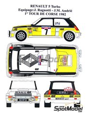 Renaissance Models: Marking / livery 1/24 scale - Renault 5 Turbo Group 4 ELF #7 - Jean Ragnotti (FR) + Jean-Marc Andrié (FR) - Tour de Corse 1982 - water slide decals and assembly instructions - for Tamiya references TAM24027 and 24027