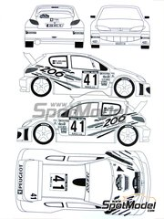 Renaissance Models: Decals 1/24 scale - Peugeot 206 WRC #41 - Fabrice Morel (FR) + Philippe Guellerin (FR) - Catalunya Costa Dorada RACC Rally 2000 - for Tamiya references TAM24267 and 24267