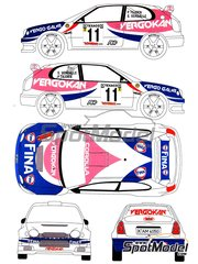 Renaissance Models: Marking / livery 1/24 scale - Toyota Corolla WRC Fina Vergokan #11 - Pieter Tsjoen (BE) + Steven Vergalle (BE) - Ypres Rally 2000 - water slide decals, assembly instructions and painting instructions - for Hasegawa references 20266 and HASCR-24, or Revell reference REV07362, or Tamiya reference TAM24209