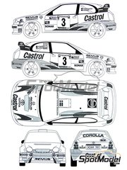 Renaissance Models: Decals 1/24 scale - Toyota Corolla WRC Castrol #3 - Henrick Lundgaard (DK) + Jens-Christian Anker (DK) - Ypres Rally 2000 - for Tamiya reference TAM24209