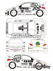 Renaissance Models: Transkit 1/24 scale - Peugeot 206 WRC Clarion Ultron Esso #9, 10 - Gilles Panizzi (FR) + Hervé Panizzi (FR), Francois Delecour (FR) + Daniel Grataloup (FR) - Tour de Corse 2000 - transkit, decals and photo-etched parts - for Tamiya reference TAM24267