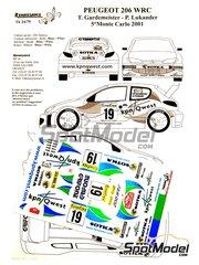 Renaissance Models: Decoración escala 1/24 - Peugeot 206 WRC KPN Qwest Nº 19 - Toni Gardemeister (FI) + Paavo Lukander (FI) - Rally de Montecarlo 2001 - calcas de agua y manual de instrucciones - para la referencia de Tamiya TAM24267