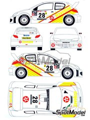 Renaissance Models: Decals 1/24 scale - Peugeot 206 WRC Texaco-Havoline #28 - Ioannis Papadimitriou (GR) + Chris Patterson (GB) - Portugal Rally 2001 - for Tamiya references TAM24267 and 24267
