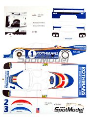 Renaissance Models: Marking / livery 1/24 scale - Porsche 956 Rothmans #1, 2, 3 - Jacques Bernard 'Jacky' Ickx (BE) + Derek Bell (GB), Jochen Mass (DE) + Vern Schuppan (AU), Hurley Haywood (US) + Alvah Robert 'Al' Holbert (US) - 24 Hours Le Mans 1982 - resin parts, water slide decals and assembly instructions - for Tamiya kits TAM24047 and TAM24232