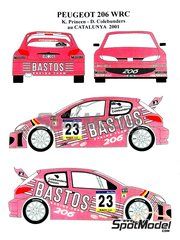Renaissance Models: Marking / livery 1/24 scale - Peugeot 206 WRC Bastos #23 - Kris Princen (BE) + Dany Colebunders (BE) - Catalunya Costa Dorada RACC Rally 2001 - resin parts, water slide decals and assembly instructions - for Tamiya references TAM24267 and 24267