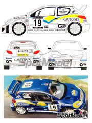 Renaissance Models: Marking / livery 1/24 scale - Peugeot 206 WRC Gauloises #19 - Jean Joseph (ES) + Jacques 'Jack' Boyère (FR) - Catalunya Costa Dorada RACC Rally 2001 - resin parts, water slide decals and assembly instructions - for Tamiya reference TAM24267