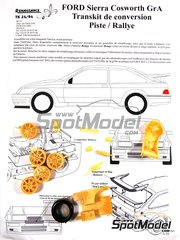 Renaissance Models: Tarmac conversion set 1/24 scale - Ford Sierra Cosworth Group A - resin parts and assembly instructions - for Tamiya references TAM24080 and TAM24081