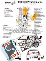 Renaissance Models: Transkit 1/24 scale - Citroen Xsara T4 WRC 2001 - photo-etched parts, resin parts and decals - for Heller reference 80769
