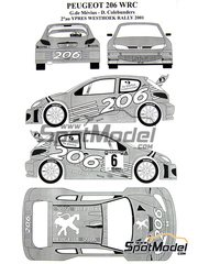 Renaissance Models: Decals 1/24 scale - Peugeot 206 WRC #3 - Grégoire de Mevius (BE) + Dany Colebunders (BE) - Ypres Rally 2001 - for Tamiya kit TAM24267