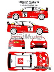 Renaissance Models: Decals 1/24 scale - Citroen Xsara WRC #5 - Philippe Bugalski (FR) + Jean-Paul Chiaroni (FR) - ADAC Deutschland Rally 2001 - for Heller reference 80769