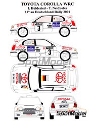 Renaissance Models: Decals 1/24 scale - Toyota Corolla WRC Meiers #14 - Isolde Holderied (DE) + Tanja Neidhöfer (DE) - ADAC Deutschland Rally 2001 - for Tamiya reference TAM24209