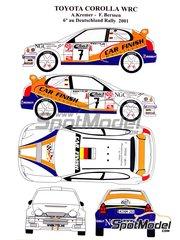 Renaissance Models: Calcas de agua escala 1/24 - Toyota Corolla WRC Nº 7 - Armin Kremer (DE) + Fred Berssen (DE) - Rally de Alemania ADAC 2001 - para la referencia de Tamiya TAM24209