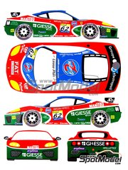 Renaissance Models: Marking / livery 1/24 scale - Ferrari 360 Modena JMB Racing #62 - David Terrien (US) + Garbagnat + Pescatori - 24 Hours SPA Francorchamps 2001 - water slide decals and assembly instructions - for Tamiya references TAM24228, 24228, TAM24298 and 24298