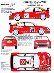 Renaissance Models: Marking / livery 1/24 scale - Citroen Xsara WRC Versace #20 - Sebastien Loeb (FR) + Daniel Elena (MC) - Sanremo Rally 2001 - resin parts, water slide decals and assembly instructions - for Heller reference 80769