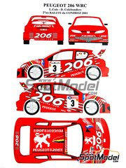 Renaissance Models: Transkit 1/24 scale - Peugeot 206 WRC - Larry Cols (BE) + Dany Colebunders (BE) - Condroz Rally 2001 - decals, resin rims and tyres - for Tamiya kit TAM24267