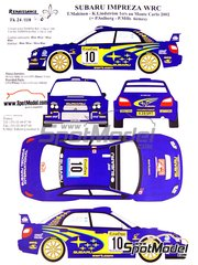 Renaissance Models: Marking / livery 1/24 scale - Subaru Impreza WRC #10 - Tommi Mäkinen (FI) + Kaj Lindström (FI), Petter Solberg (NO) + Phil Mills (GB) - Montecarlo Rally 2002 - water slide decals, assembly instructions and painting instructions - for Tamiya references TAM24240 and 24240