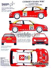 Renaissance Models: Transkit 1/24 scale - Citroen Xsara WRC #21 - Sebastien Loeb (FR) + Daniel Elena (MC) - Montecarlo Rally 2002 - resin parts, turned metal parts, water slide decals and assembly instructions - for Heller reference 80769