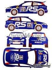 Renaissance Models: Decals 1/24 scale - Ford Focus WRC #23 - François Duval (BE) + Jean-Marc Fortin (BE) - Svezia Sweden Rally 2002 - for Tamiya reference TAM24217