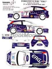 Renaissance Models: Decals 1/24 scale - Ford Focus WRC ERG #7 - François Duval (BE) + Jean-Marc Fortin (BE) - Ypres Rally 2002 - for Tamiya reference TAM24217