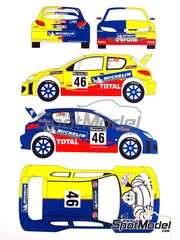 Renaissance Models: Decals 1/24 scale - Peugeot 206 WRC Michelin #46 - Valentino Rossi (IT) + Carlo Cassina (IT) - RAC Rally 2002 - for Tamiya reference TAM24267