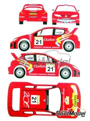 Renaissance Models: Decals 1/24 scale - Peugeot 206 WRC Clarion #21 - Gilles Panizzi (FR) + Hervé Panizzi (FR) - Turquie rally 2003 - for Tamiya kit TAM24267