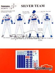 Renaissance Models: Marking / livery 1/24 scale - Peugeot 206 Silver Team Mechanics and Drivers - water slide decals - for Tamiya references TAM24266 and TAM89610