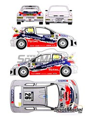 Renaissance Models: Marking / livery 1/24 scale - Peugeot 206 WRC Total #26 - Ari Vatanen (FI) + Juha Repo (FI) - 1000 Lakes Finland Rally 2003 - white metal parts, assembly instructions and painting instructions - for Tamiya reference TAM24267