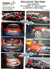 Renaissance Models: Decals 1/24 scale - Peugeot 206 WRC Bozian team #62 - Miguel Campos (PT) + Carlos Magalhães (PT) - Montecarlo Rally 2004 - for Tamiya kit TAM24267