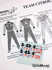 Renaissance Models: Marking / livery 1/24 scale - Citroën mechanics, driver and co-driver Team Citroen - Carlos Sainz (ES) + Marc Martí (ES), Sebastien Loeb (FR) + Daniel Elena (MC) 2004 - water slide decals and assembly instructions - for Tamiya reference TAM89610