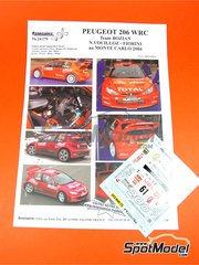 Renaissance Models: Marking / livery 1/24 scale - Peugeot 206 WRC Bozian team #61 - Nicolas Vouilloz (FR) + David Fiorini (FR) - Montecarlo Rally - Rallye Automobile de Monte-Carlo 2004 - water slide decals and assembly instructions - for Tamiya references TAM24267 and 24267