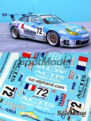 Renaissance Models: Marking / livery 1/24 scale - Porsche 911 GT3 RS Luc Alphand Aventures #72 - Luc Alphand (FR) + Christian Lavieille (FR) + Philippe Alméras (FR) - 24 Hours Le Mans 2004 - decals - for Tamiya references TAM24229 and 24229