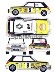 Renaissance Models: Calcas de agua escala 1/24 - Renault 5 Turbo Grupo 4 ELF Nº 6 - Jean Ragnotti (FR) + Jean-Marc Andrié (FR) - Rally de Montecarlo 1981 - para kit de Tamiya TAM24027