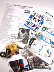 Renaissance Models: Marking / livery 1/24 scale - Peugeot 205 Turbo 16 Evo 2 Shell #5 - Bruno Saby (FR) + Jean-Francois Fauchille (FR) - Tour de Corse 1986 - photo-etched parts, resin parts, rubber parts, water slide decals, assembly instructions and painting instructions - for Tamiya reference TAM24054