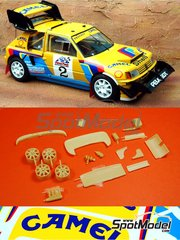 Renaissance Models: Marking / livery 1/24 scale - Peugeot 205 Turbo 16 Camel Shell #2 - Ari Vatanen (FI) - Pikes Peak Climb Hill Race 1987 - photo-etched parts, resin parts, water slide decals, other materials, assembly instructions and painting instructions - for Tamiya references TAM24054 and 24054