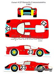 Renaissance Models: Marking 1/24 scale - Ferrari 412 P Maranello Concessionaires #23 - 24 Hours Le Mans 1967 - water slide decals and assembly instructions - for Fujimi kit HR-21