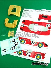 Renaissance Models: Transkit 1/24 scale - Ferrari 412 P Scuderia Filipinetti #22 - 24 Hours Le Mans 1967 - resin parts, vacuum formed parts, water slide decals and assembly instructions - for Fujimi reference HR-21