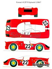 Renaissance Models: Marking 1/24 scale - Ferrari 412 P Scuderia Filipinetti #22 - 24 Hours Le Mans 1967 - water slide decals and assembly instructions - for Fujimi kit HR-21