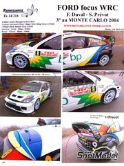 Renaissance Models: Decals 1/24 scale - Ford Focus WRC BP #8 - François Duval (BE) + Stéphane Prévot (BE) - Montecarlo Rally 2004 - for Tamiya reference TAM24217
