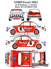 Renaissance Models: Decoración escala 1/24 - Ford Escort Mk. II RS 1800 Belga Nº 6 - Robert Droogmans (BE) + Ronny Joosten (BE) - Rally Condroz de Bélgica 1983 - piezas de resina, calcas de agua y manual de instrucciones - para las referencias de Italeri 3650 y 3655, o las referencias de Revell REV07374 y 7374