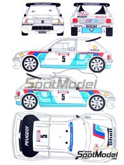 Renaissance Models: Decals 1/24 scale - Peugeot 205 Turbo 16 Evo 2 Shell #5 - Bruno Saby (FR) + Jean-Francois Fauchille (FR) - Tour de Corse 1986 - for Tamiya kit TAM24054