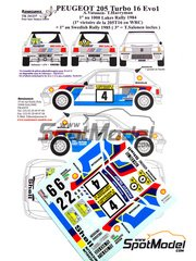 Renaissance Models: Calcas de agua escala 1/24 - Peugeot 205 Turbo 16 Evo 1 Shell Nº 2, 4, 6 - Ari Vatanen (FI) + Terry Harryman (GB) - Rally de los 1000 Lagos Finlandia 1984 - para kit de Tamiya TAM24054