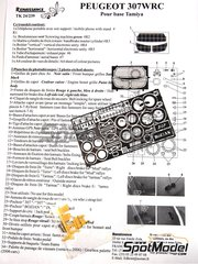 Renaissance Models: Detail up set 1/24 scale - Peugeot 307 WRC  2005 - photo-etched parts, resin parts and assembly instructions - for Tamiya reference TAM24285