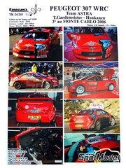 Renaissance Models: Calcas de agua escala 1/24 - Peugeot 307 WRC Astra Nº 16 - Toni Gardemeister (FI) + Jakke Honkanen (FI) - Rally de Montecarlo 2006 - para las referencias de Tamiya TAM24285 y 24285