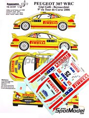Renaissance Models: Decoración escala 1/24 - Peugeot 307 WRC Pirelli Nº 25 - Gianluigi 'Gigi' Galli (IT) + Giovanni Bernacchini (IT) - Rally Tour de Corse 2006 - calcas de agua y manual de instrucciones - para las referencias de Tamiya TAM24285 y 24285