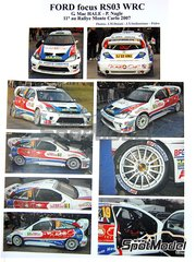 Renaissance Models: Marking / livery 1/24 scale - Ford Focus RS03 WRC Tom Hogan Motors #19 - Gareth McHale (IE) + Paul Nagle (IE) - Montecarlo Rally 2007 - resin parts, water slide decals and assembly instructions - for Hasegawa reference 20263