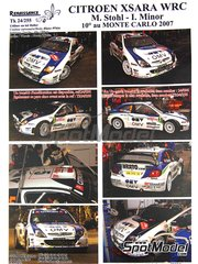 Renaissance Models: Marking / livery 1/24 scale - Citroen Xsara WRC OMV Kronos #5 - Manfred Stohl (AT) + Ilka Minor-Petrasko (AT) - Montecarlo Rally 2007 - resin parts, water slide decals, assembly instructions and painting instructions - for Heller reference 80769
