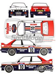 Renaissance Models: Marking / livery 1/24 scale - BMW M3 E30 Rothmans Motul  #10 - Bernard Béguin (FR) + Jean-Jacques 'JJ' Lenne (FR) - Tour de Corse 1987 - water slide decals and assembly instructions - for Beemax Model Kits references B24007, B24016 and B24019, or Fujimi reference FJ125725