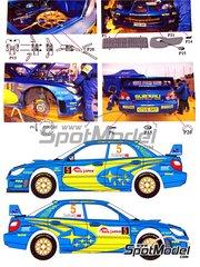 Renaissance Models: Transkit escala 1/24 - Subaru WRC S12 Nº 5, 6 - Petter Solberg (NO) + Phil Mills (GB), Chris Atkinson (AU) + Glenn Macneall (AU) - Rally de Japon 2006 - carroceria, piezas y calcas